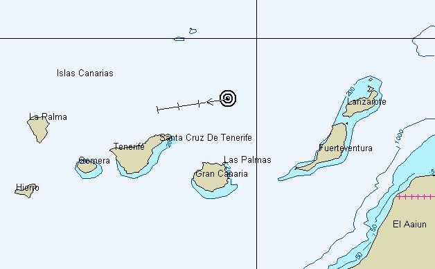 Canarische eilanden, rondje met pijltje is de Gabber