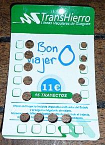 meerrittenkaart voor de bus in El Hierro, een besparing van 30%