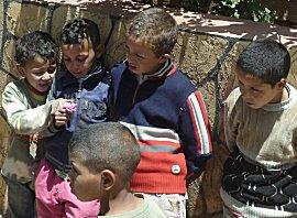 jonge marokaantjes proberen verlegen roos te verkopen