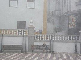 Ernie aan het internetten in de mist
