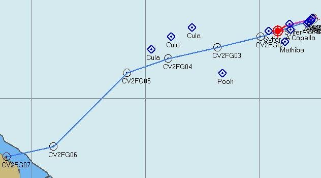 Route en Nederlandse vloot onderweg naar de overkant