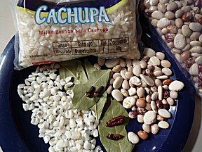 Witte mais, verschillende bonen, laurier, peper en kruidnagel voor eigen gemaakte cachupa
