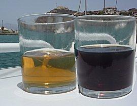 De kleur van de diesel uit het groffilter (zwart) en verse diesel uit Mindelo