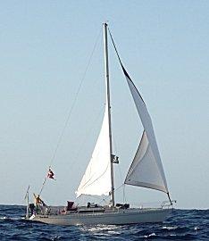 De Deense zeilboot Gorm, onderweg naar Tobago