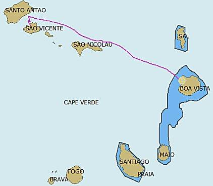 Gevaren track en overzicht van Cape verde eilanden groep