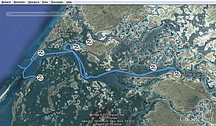 Gevaren tracks en ankerplaatsen op de Saloum, klik om op download pagina te komen