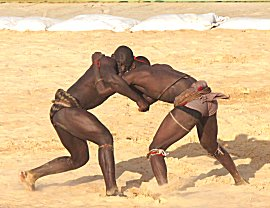Senegaleze worstelaars in actie