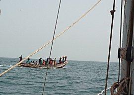 Zee vissen vanuit een piroque