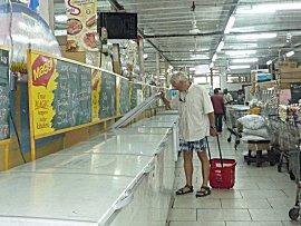 De diepvries afdeling van Combe supermarkt.