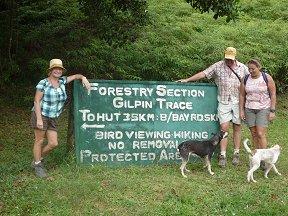Het start punt van de Gilpin trail, circa 3km over de weg, heuvel op vanaf de busstop.