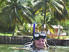 we maken een oud nederlandse soep duik in Trinidad, zicht 0,5-1m