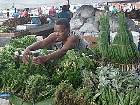 Verse kruiden op de markt in Port of Spain.