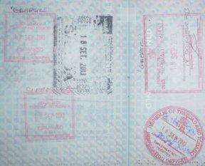 Zes nieuwe stempels in het paspoort.